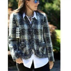 Carol Anderson for Cabi tweed fringe blazer coat